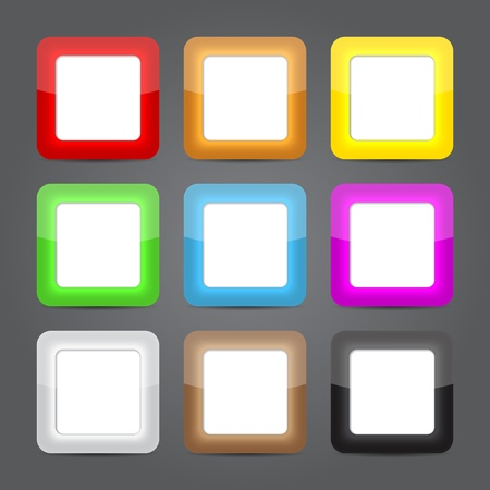 App icons glass set. Glossy button icons Vector