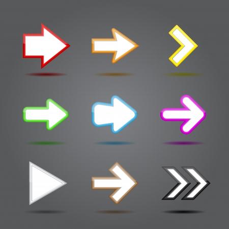 App icons glass set. Glossy arrow web sign Vector
