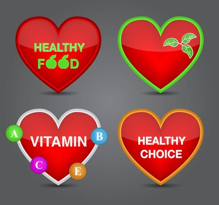 Set of Healthy food icon on heart shape Vector
