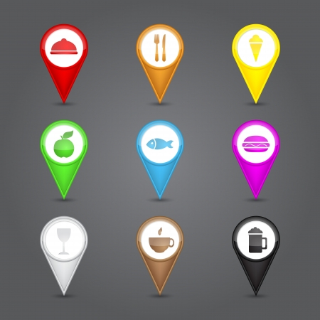 continental food: App icons glass set. Glossy round 3D map pin with food sign Illustration