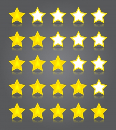 App icons glass set. Five glossy yellow stars ratings. Vector