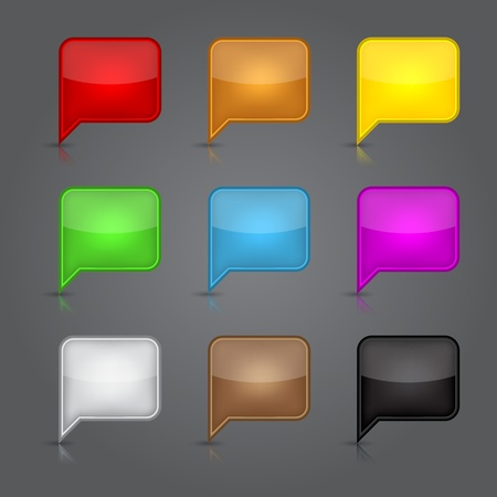 inet: App icons glass set. Glossy empty speech bubble web button