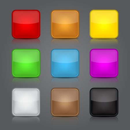 App icons background set. Glossy web button icons