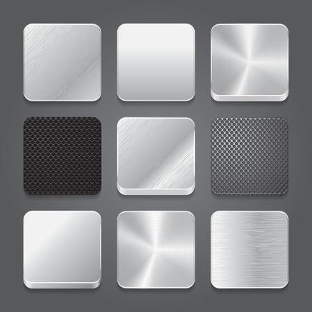 cromo: App fondo iconos conjunto. Iconos de botón de metal. Ilustración vectorial Vectores