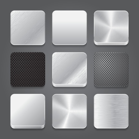 steel plate: App icons background set. Metal button icons. Vector illustration