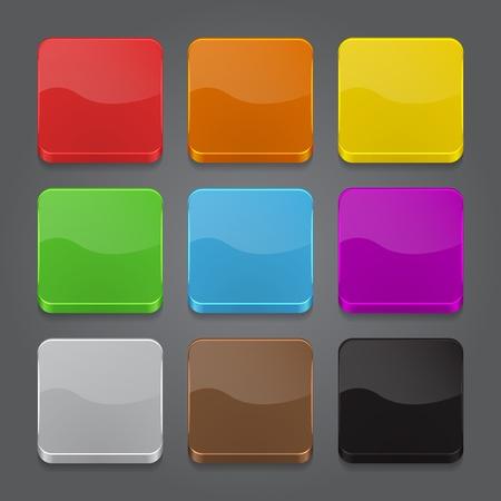 forme carre: App ic�nes arri�re-plan d�fini. Brillant ic�nes de boutons web. Vector illustration
