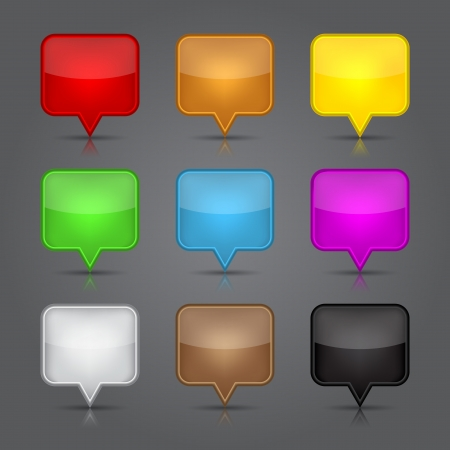 App icons set. Glossy blank map pin icon web button