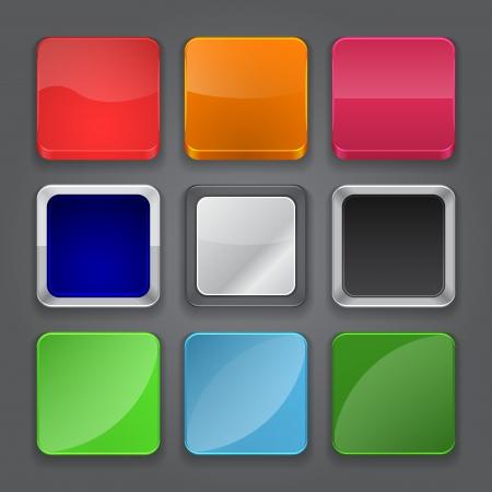 앱 아이콘 배경 광택있는 웹 버튼 아이콘 벡터 일러스트 레이 션을 설정