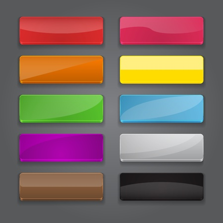 gloss banner: Colorful set of web banner buttons with different gloss reflections  Vector illustration