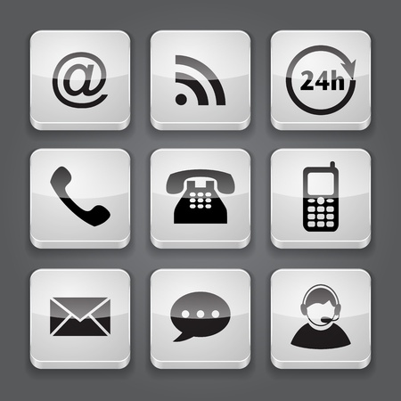 contact us: Media and communication button - set icons  illustration Illustration