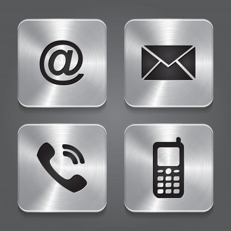 Metal contact buttons - set icons  Vector illustration