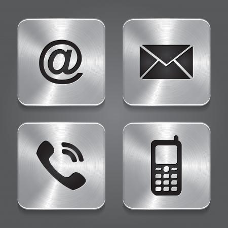 Metall Kontakt Tasten - icons Vektor-Illustration Illustration