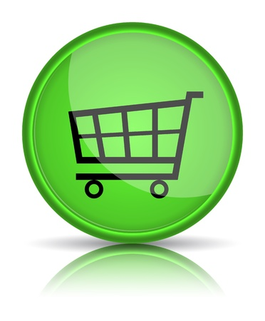 e store: Green glossy web button with shopping cart sign  illustration