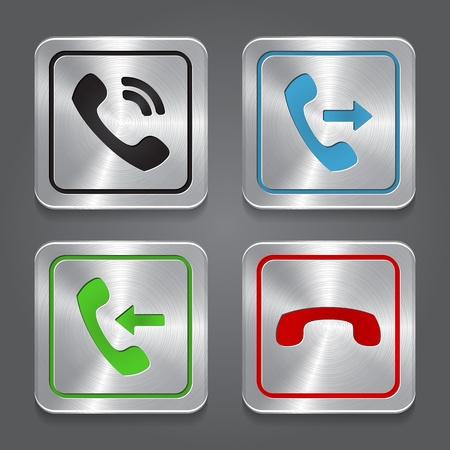 call us: set app icons, metallic phone buttons.  Illustration