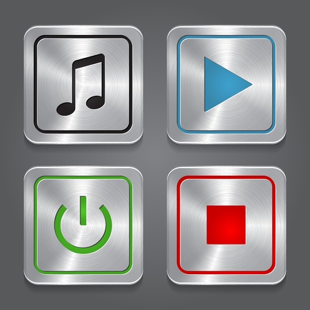 media player: set app icons, metallic media player buttons collection.
