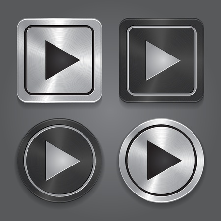 set app icons, realistic metallic Play button with highlights.  Vector