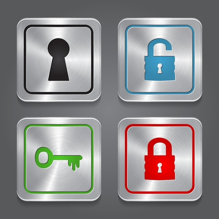 set app icons, metallic lock buttons collection.  Vector