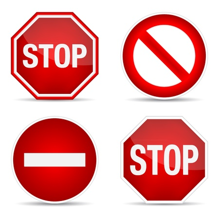 warning signs: Stop sign, set.