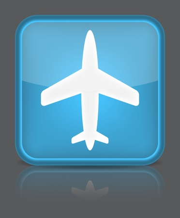 Airplane icon. Sign with reflection isolated on grey.  Vector