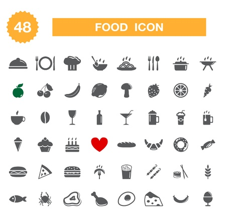 Food icon - set. Vector Çizim