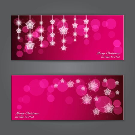 christmas banner: Set of Elegant Christmas banners with stars   illustration