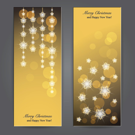 Set of Elegant Christmas banners with stars  Vector illustration Vector