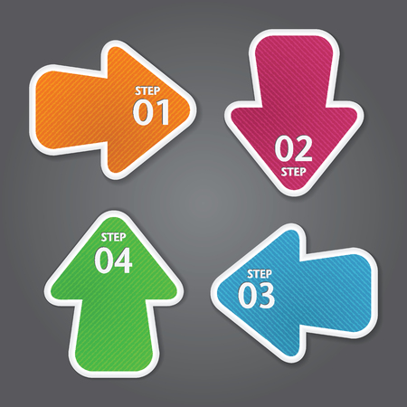 Arrow stickers with numbers. Vector template for infographics Vector