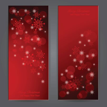 Set of Elegant Christmas banners with snowflakes.  Vector