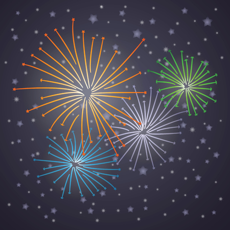 Glowing starry fireworks on blue background  Vector Vector