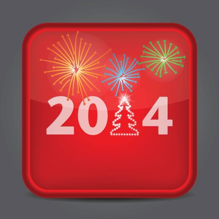 Year 2014 icon glossy red  Vector on black background Vector
