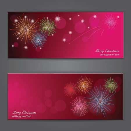 Set of Elegant Christmas banners with fireworks. Vector illustration