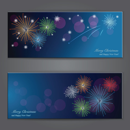 Set of Elegant Christmas banners with fireworks. Vector illustration Vector