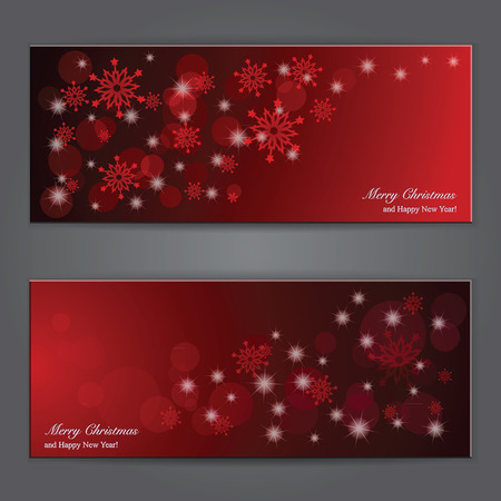 christmas wrapping: Set of Elegant Christmas banners with snowflakes. Vector illustration Illustration