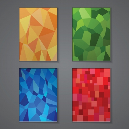 A set of modern vector brochure cover design templates with polygonal background. Vector Illustration