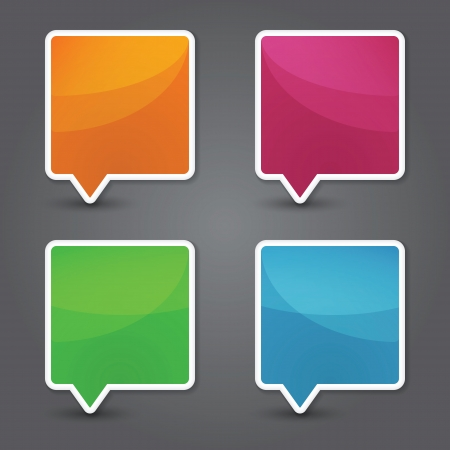 Set of colorful 3d speech bubbles. Vector Ilustracja