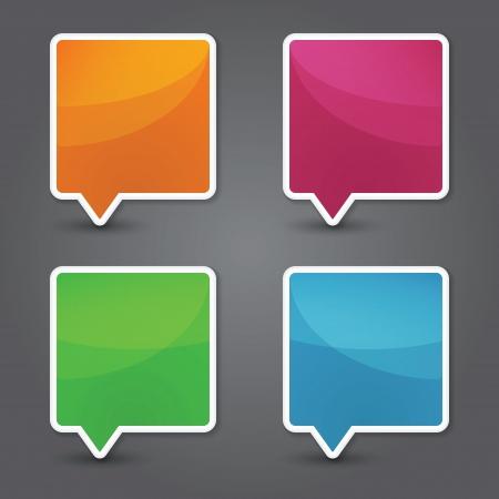 Set of colorful 3d speech bubbles. Vector Illustration