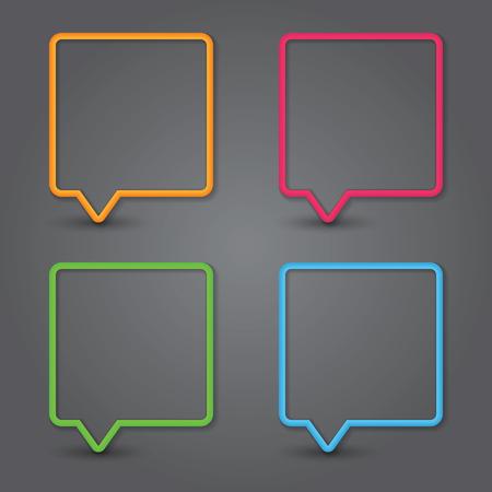 Set of colorful 3d speech bubbles. Vector Vector