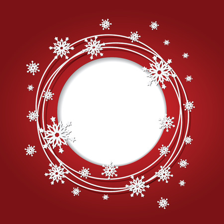 Christmas red background with snowflakes and place for text  Round frame  Vector Illustration
