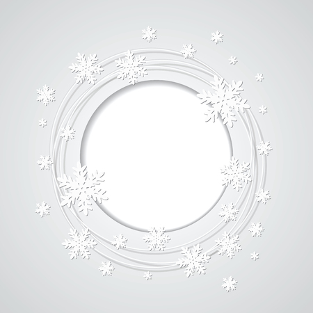 Christmas gray background with snowflakes and place for text   Vector