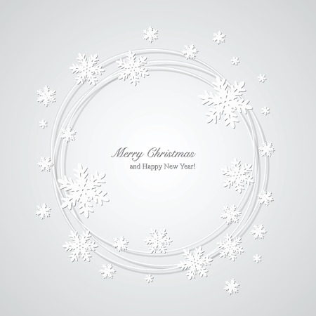 a holiday greeting: Christmas gray background with snowflakes and place for text  Illustration