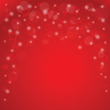 Elegant Christmas red background with stars and place for text