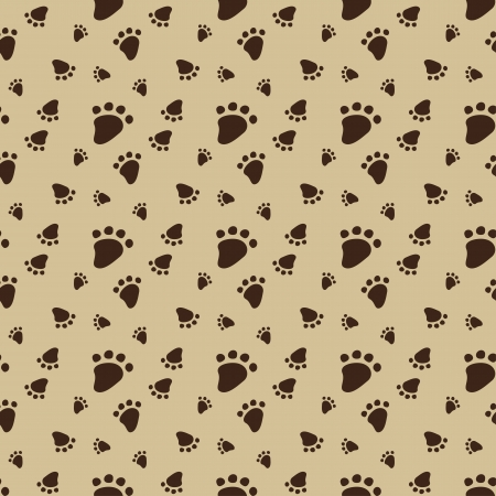 white paw: Seamless pattern with animal footprint  Vector illustration Illustration