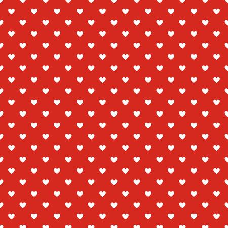 원활한 폴카 마음 벡터 빨간색 패턴을 점
