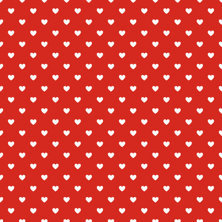 Seamless polka dot red pattern with hearts  Vector Vector