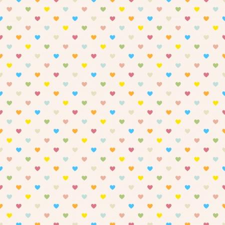 원활한 폴카 마음 벡터와 컬러 풀 한 패턴을 점
