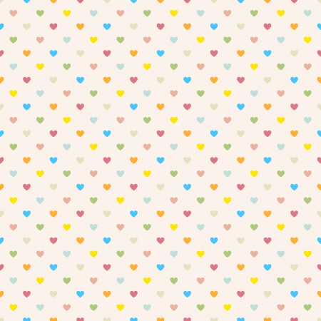 Seamless polka dot colorful pattern with hearts  Vector Ilustracja
