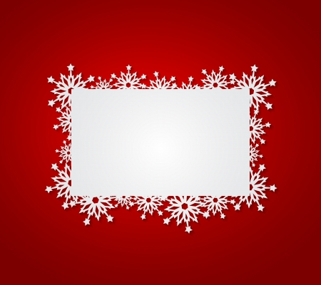 holiday border: Red Christmas background with paper snowflakes. Vector illustration