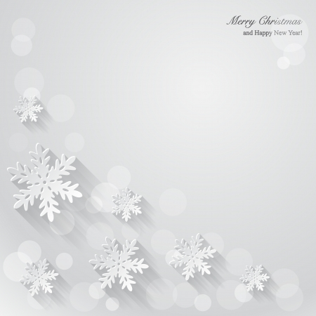 Christmas background with paper snowflakes. Vector Illustration.