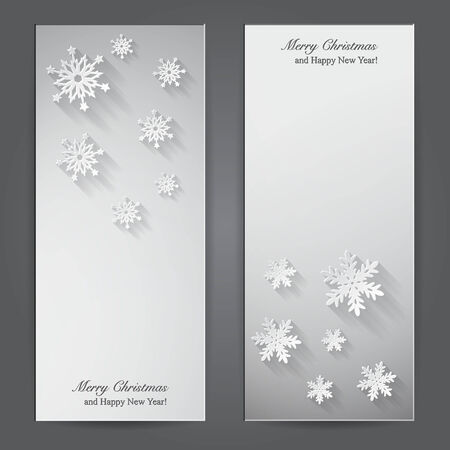 Christmas banners with paper snowflakes. Vector illustration Stock Vector - 24122648