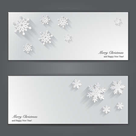 Christmas banners with paper snowflakes. Vector illustration Stock Vector - 24122649